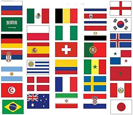 COPA DEL MUNDO 2018 Bandera Paquete - ALL 32 Naciones 5x3 (150cmx90cm) Banderas: Amazon.es: Deportes y aire libre