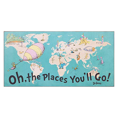 Patton Wall Decor 40x20 Dr. Seuss Colorful Characters Oh The Places You'll Go World Map Stretched Canvas Art Wall Decor, Blue]()