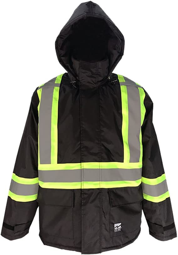 Viking Open Road 150 Denier Trilobal Rip-Stop Hi-Vis Safety Rain Long Coat with 2 Vi-brance Reflective Tape