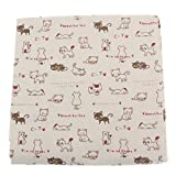 Vintage Printing Pattern Cloth Natural Cotton Linen Fabric Quilting Patchwork Sewing DIY Textile Multi Pattern Option - Cats, Length 155cm, Width 97cm
