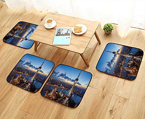 - UHOO2018 Universal Chair Cushions Shanghai Skyline at Sunset Personalized Durable W15.5 x L15.5/4PCS Set