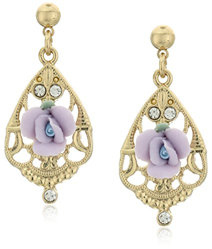1928 Jewelry Gold-Tone Lavender Porcelain Rose with Crystal Accent Filigree Drop Earrings