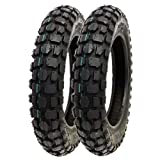 SET OF TWO: Knobby Tire 3.00-10 Front or Rear Trail Off Road Dirt Bike Motocross Pit