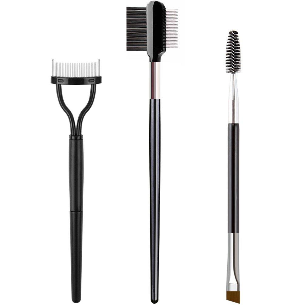 KINGMAS 3Pcs Double-Ended Eyebrow Brush & Eyelash Comb Curlers & Steel Brow Brush Comb Makeup Grooming Tool