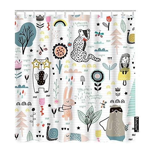 Moslion Cute Bath Shower Curtain Set Childish Fairy Flowers Bear Bunny Leopard Hedgehog Tiger Tree Leaf Shower Curtains Home Decorative Waterproof Polyester Fabric Hooks 72x90 Inch