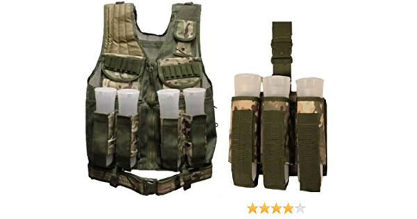 Ultimate Arms Gear Tactical Scenario Marpat Woodland Digital Camo Camouflage Triple Universal Paintball 3 Pod Drop Leg Carrier Pouch Utility Rig Harness System
