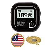 GolfBuddy Voice 2 Golf GPS/Rangefinder (40k+ Preloaded Worldwide Courses) Bundle with Magnetic Hat Clip Ball Marker (USA Flag)