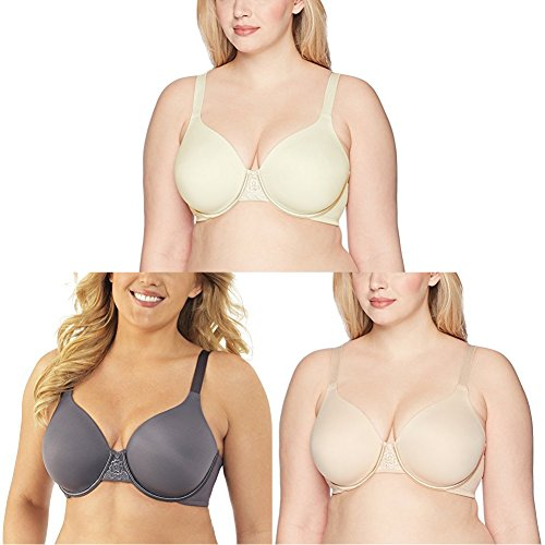 Vanity Fair Women's Beauty Back Full Figure Underwire Bra 76380, Ivory/Steele Violet/Damask Neutral, 42DD