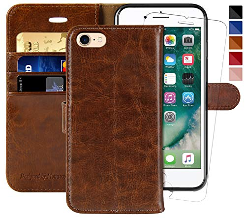 (iPhone 7 Wallet Case/iPhone 8 Wallet Case,4.7-inch,MONASAY [Glass Screen Protector Included] Flip Folio Leather Cell Phone Cover with Credit Card Holder for Apple iPhone 7/8 (Brown1))