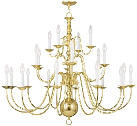 Livex Lighting 5015-02 Williamsburg 22-Light Chandelier, Polished Brass