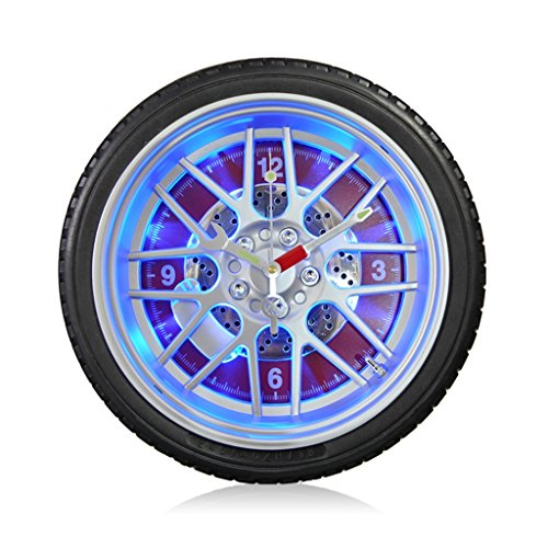 TIANTA- LED night light wall clock silent creative car tires living room bedroom plastic frame metal paint pointer clock and watches ( Color : D , Size : 14 inches (Car Color Wall Clock)