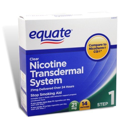 Equate - Step 1, Nicotine Transdermal System, Stop Smoking Aid, 21 mg, 14 Clear Patches