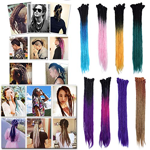 "Ombre Dreadlocks Black to Rose Red to Purple Hair Extensions for Men Women Tree Tones Reggae Braids Dreads Faux Locs Crochet Hair 24"" Handmade Single Ended for Rock&Roll Hippie(15 strands) (Hippie Rock)"