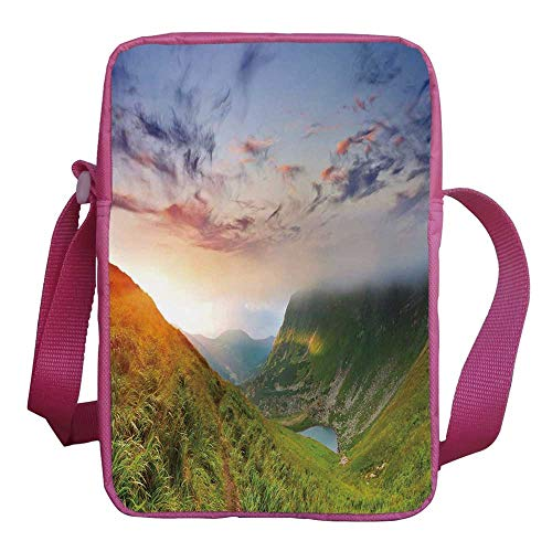 9 Structure Mist - Mountain Stylish Kids Crossbody Bag,Majestic Sunrise in Hills Mottled Clouds Fresh Grass Serenity Morning Mist for Girls,9