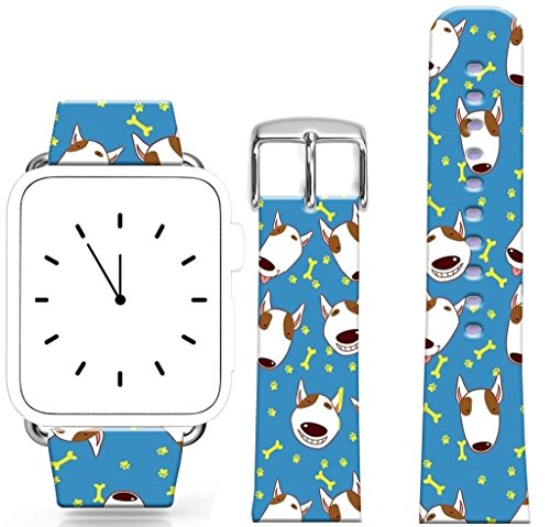 Apple Watch Band Leather 42Mm Series 1 Series 2,Apple Watch Strap Genuine Leather Replacement 42Mm Lovely Small Dogs And Bones Claws Print