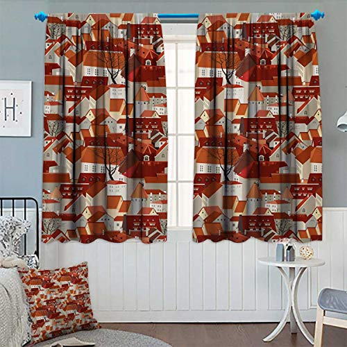 (Chaneyhouse City Patterned Drape for Glass Door Landscape Illustration with Tile Roof Pattern Urban Architecture Ornamental Design Waterproof Window Curtain 63