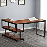 L - Shaped Desk, LITTLE TREE Industrial 59'' Corner Computer Office Desk with Storage Shelf for Home Office, Works as Writing Desk, Workstation (Cherry Finish)