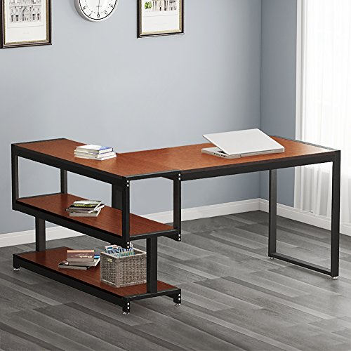 L - Shaped Desk, LITTLE TREE Industrial 59'' Corner Computer Office Desk with Storage Shelf for Home Office, Works as Writing Desk, Workstation (Cherry Finish) by Little Tree
