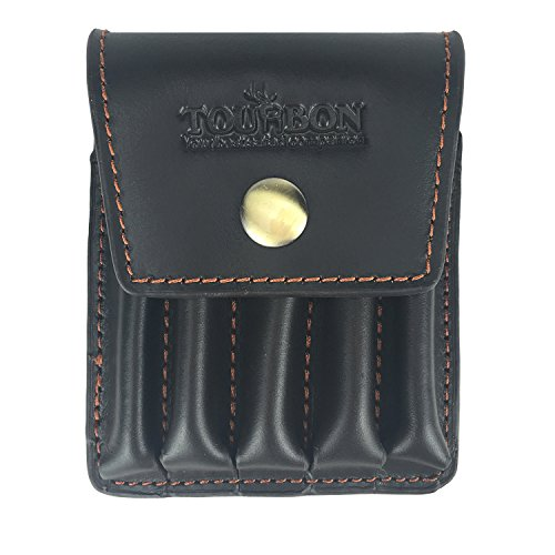 Tourbon Hunting Genuine Leather Rifle Cartridge Holder 5 Round Ammo Wallet Pouch (Bullet Holder Rifle compare prices)