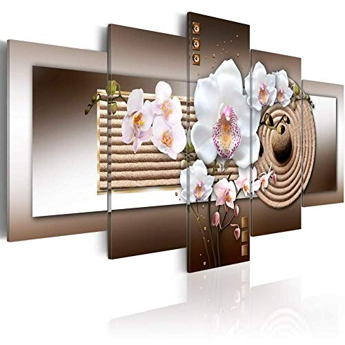 - Orchid and Brown Zen Garden Large Abstract Canvas Prints Wall Art 5 Panels Modern Flower Painting Contemporary Decor Artwork, Modern Artwork Canvas Print Wall Art for Living Room