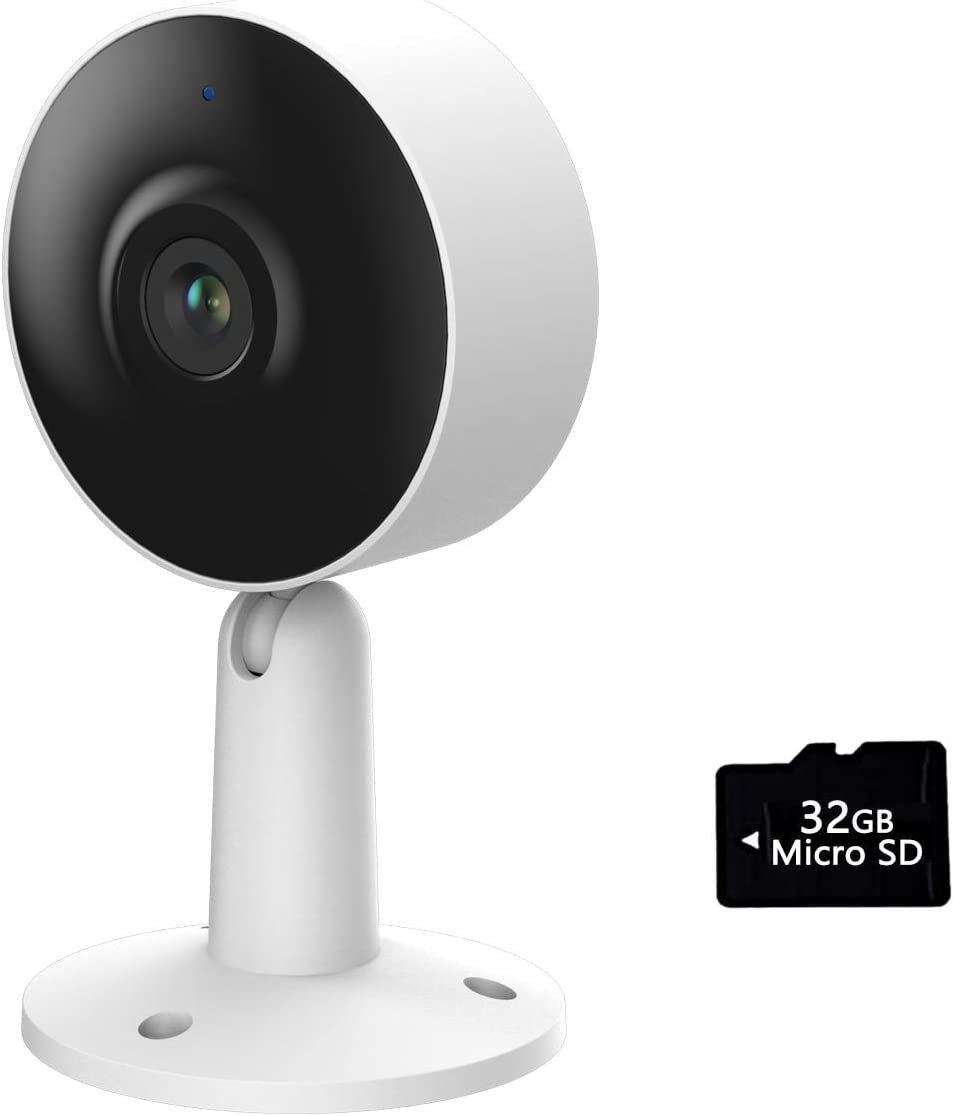 Arenti Indoor Wi-Fi Smart Home Security Camera with Human Motion Detector, Night Vision, 2-Way Audio, 3MP/2K UHD, Compatible with Alexa & The Google Assistant, White, One Pack with SD Card - IN1T