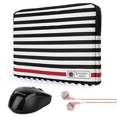 Vangoddy Luxe R Series Black White Stripe 15.6 Inch Lightweight Padded Carrying Sleeve for HP 15z | Chromebook | Envy | Omen | Pavilion | ProBook Series 15.6