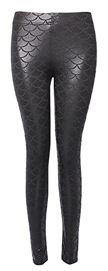 fe4d01c5e01e5 ChezAbbey Womens Mermaid Fish Scale Printed Leggings Stretch Tight Pants