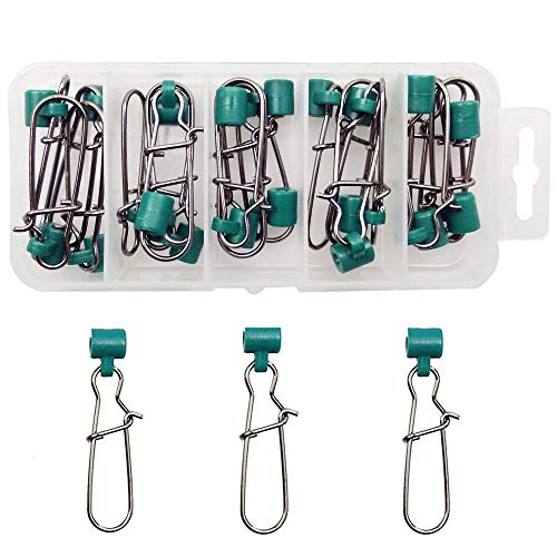 Shaddock Fishing 25pcs/Box Heavy Duty Green Fishing Line Sinker Slides with Nice Snap High-Strength Fish Sinker Slider Tackle Box Kit -Test: 220LB