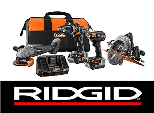 New Ridgid Limited Edition 18v (4) Brushless Tool Combo Kit + (2) 4ah Batteries & Charger (Ridgid Kit Combo)