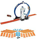 Bundle Includes 2 Items - Hot Wheels Workshop Track Builder Loop Launcher Track Extension and Hot Wheels Track Builder Straight Track with Car, 15 Feet - Styles May Vary