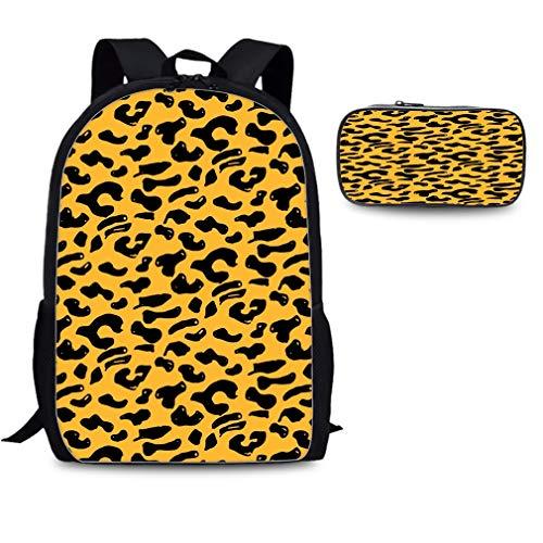 Backpack Set Pen Bags for People Fashion Book Bag Daypack Handsome Leopard Grain Print ()