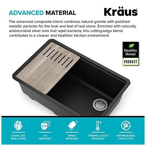 Kitchen Kraus KGUW2-30MBL Bellucci Workstation 30 inch Undermount Granite Composite Single Bowl Kitchen Sink, Metallic Black modern kitchen sinks