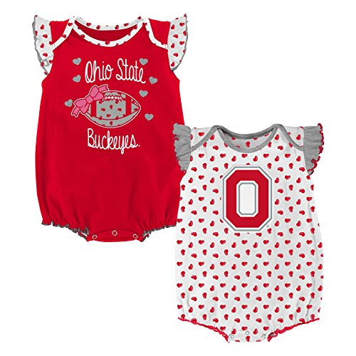 Cotton Ohio Onesie (NCAA Ohio State Buckeyes Newborn & Infant Heart Fan 2pc Bodysuit Set, Multi, 24 Months)
