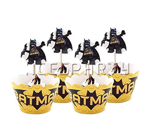 Astra Gourmet Batman Cupcake Wrappers with Picks for Batman Themed Party Decoration Party Favor Supplies]()