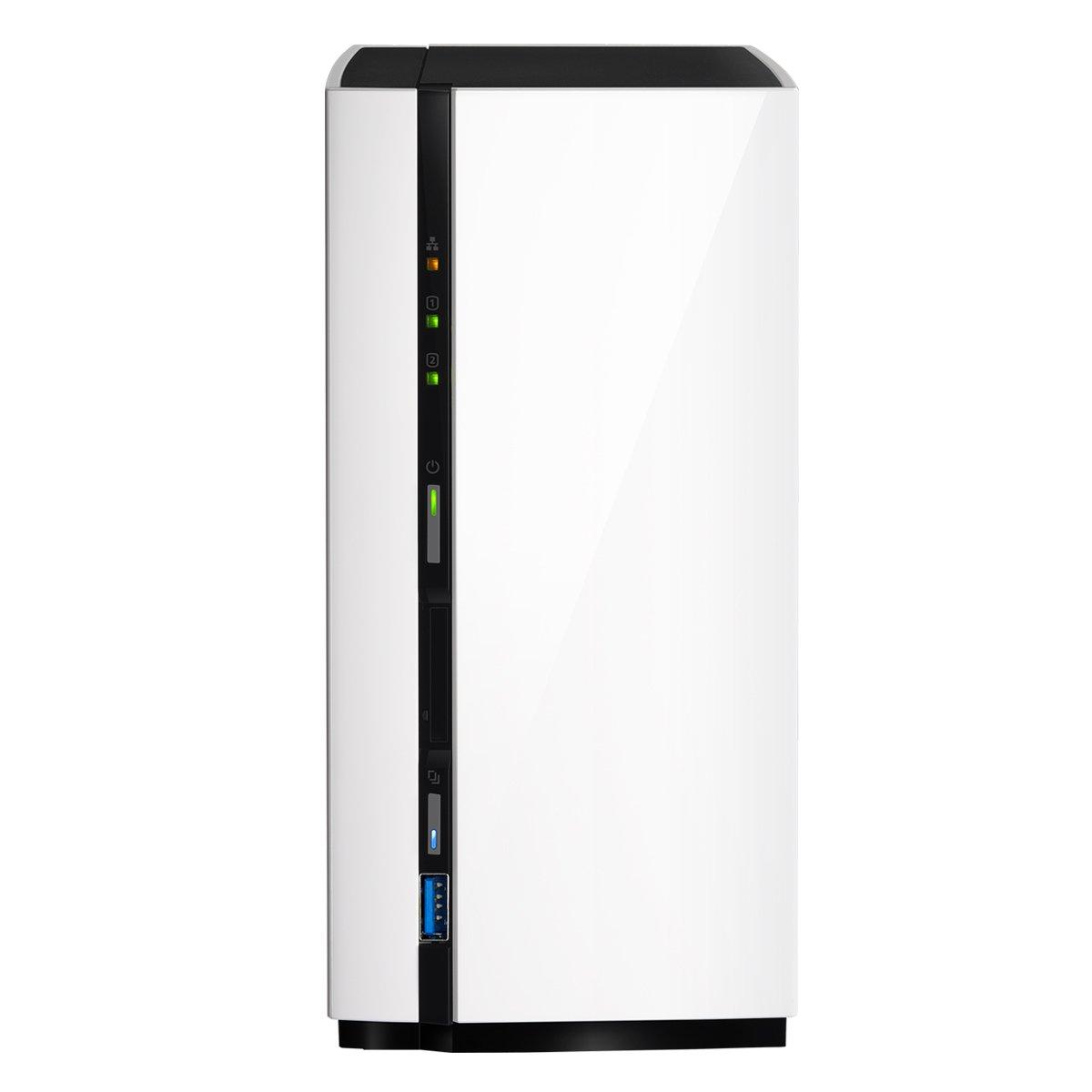 QNAP TS-228 NAS Mini Tower Ethernet Negro, Color blanco servidor de almacenamiento - Unidad RAID (Unidad de disco duro, SATA, 3.5