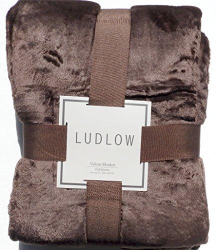 Luxurious Solid Velvet Velour Blanket Full Queen Size Brown