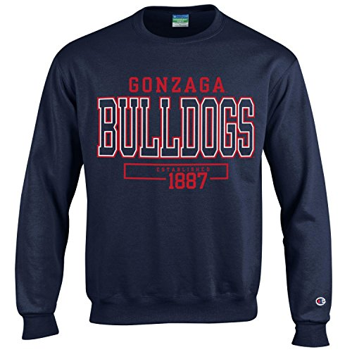 Champion NCAA Men's Long Sleeve Eco Powerblend Sweatshirt Unisex Officially Licensed Crewneck Fleece Gonzaga Bulldogs XX-Large