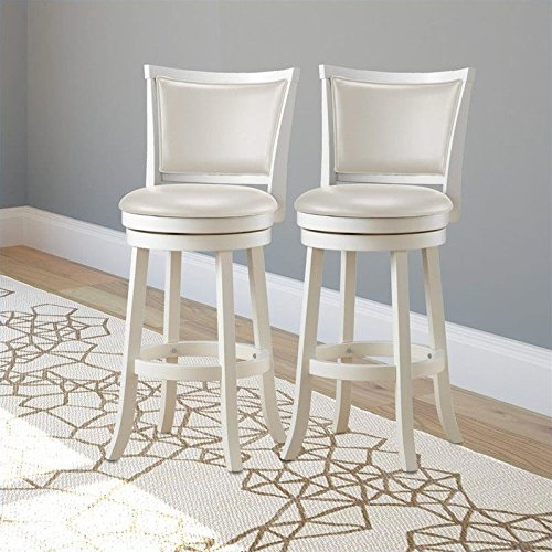 CorLiving DWG-119-B Woodgrove White Wash Wood Swivel Bar Height Barstool with Leatherette Seat, 29'' Seat Height, Set of 2 (High Seat Swivel 29')