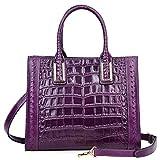PIJUSHI Women Top Handle Satchel Handbags Designer Leather Tote Bag 27010(Violet Croco)