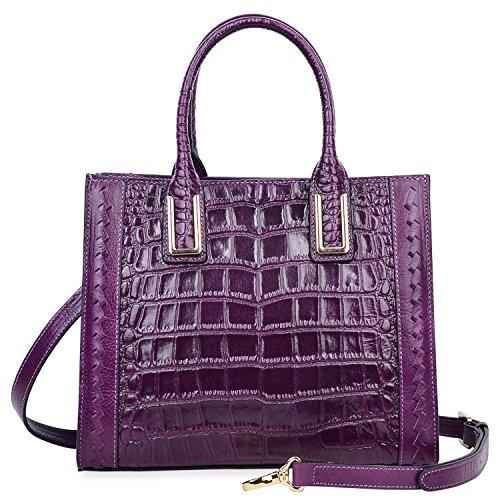 PIJUSHI Women Top Handle Satchel Handbags Designer Leather Tote Bag 27010(Violet Croco) by PIJUSHI