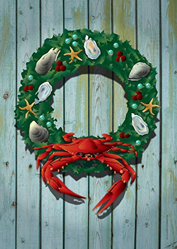 Citizen Pride Holiday Crab Wreath Large House Flag by Joe Barsin, 28×40 For Sale