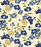 "Blue Poppy Fields Flannel Backed Vinyl Tablecloth - 60"" x 84"" Oval"