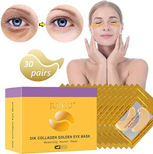 JUYOU 24K Gold Under Eye Patch, Eye Mask, Collagen Eye Patch, Eye Pads For Anti-wrinkles, Puffy Eyes, Dark Circles, Fine Lines Treatment 30Pairs