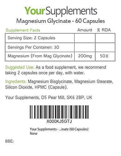 Your Supplements - Glicinato de Magnesio - 60 Cápsulas: Amazon.es: Salud y cuidado personal