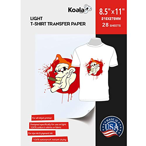 Koala Paper 28 Sheets Light T-shirt Transfer for White or Light Color Fabric 8.5X11 Inches Compatible with Inkjet Printer