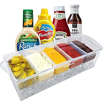Sorbus® Condiment Tray and Ice Chamber with 5 Removable Compartments - Top Cover Lid Included