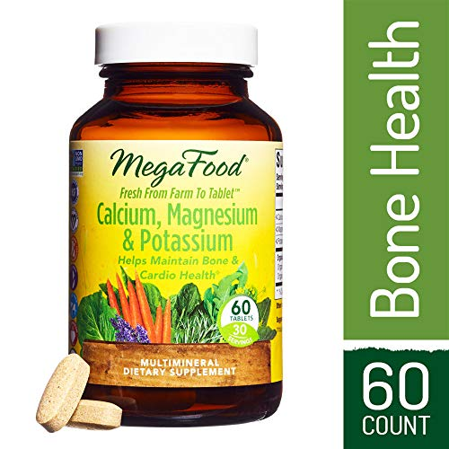 MegaFood – Calcium, Magnesium & Potassium, Promotes Healthy Bones, Muscles, Blood Pressure Levels, and Cardiovascular Health, Vegetarian, Gluten-Free, Non-GMO, 60 Tablets (FFP) For Sale