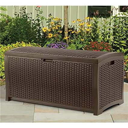Amazon & Suncast 73 Gallon Resin Wicker Patio Storage Box - Waterproof Outdoor Storage Container for Toys Furniture Yard Tools - Store Items on Deck Porch ...