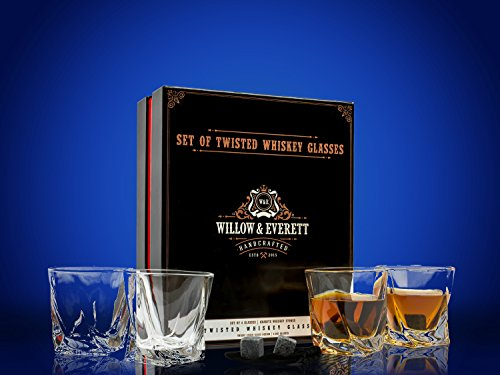 Whiskey Glass Set - Comes with Set of 4 Twisted Shaped Old Fashioned Glasses and Bonus Granite Whiskey Stones - Also Great for Scotch and Bourbon, these Whiskey Glasses Make The Perfect Holiday Gift