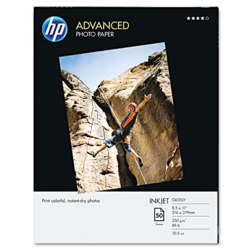 HP Glossy Advanced Photo Paper for Inkjet, 8.5 x 11 Inches, 50 Sheets (Q7853A) Advanced Photo